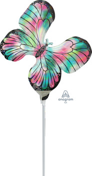 """12""""A Butterfly Iridescent Holograph Teal and Pink (10 count)"""