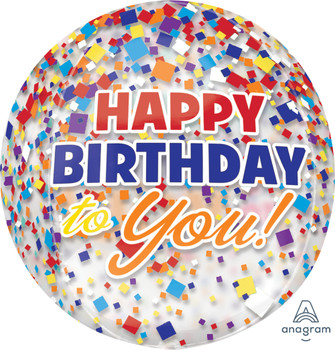 """16""""A Happy Birthday To You Clear Confetti Orbz Pkg (5 count)"""