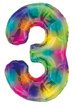 "34""K Multicolor Number 3 (1 count)"