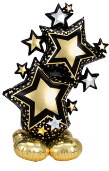 """59""""A Airloonz Star Cluster Black/Gold  (1 count)"""