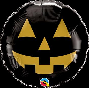 "18""Q Halloween Pumpkin Jack Face Black/Gold (10 count)"