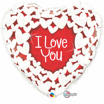 "18""Q I Love You Hearts Holographic (10 count)"