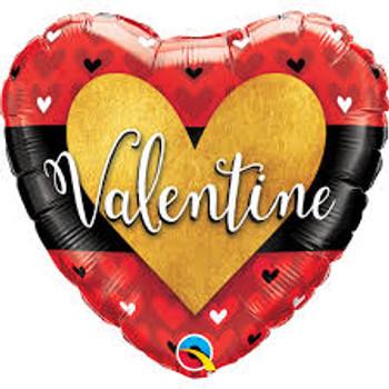 "18""Q Happy Valentine, Gold Heart (10 count)"