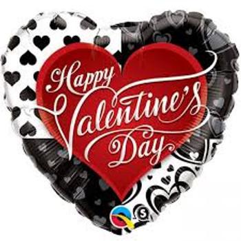 "36""Q Happy Valentine, Black Hearts (5 count)"