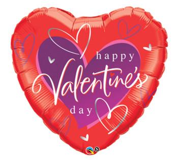 "36""Q Happy Valentine, Script Hearts (5 count)"