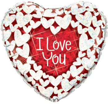 "9""Q I Love You Glitter Hearts (10 count)"