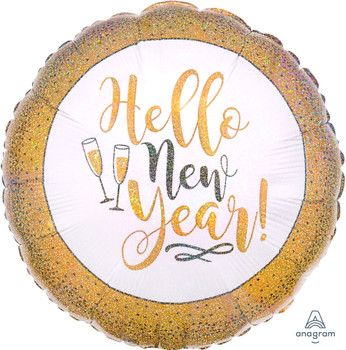 "18""A New Year, Hello Gold Glitter (5 count)"