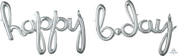 """37""""A Phrase Script Happy BDay Silver (1 count)"""
