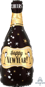 "26""A Happy New Year Champagne Bottle Black/ Gold (5 count)"
