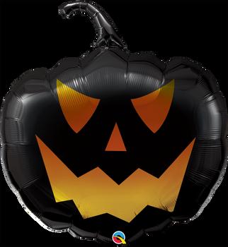 "35""Q Halloween Pumpkin Jack Face Black/Gold (5 count)"
