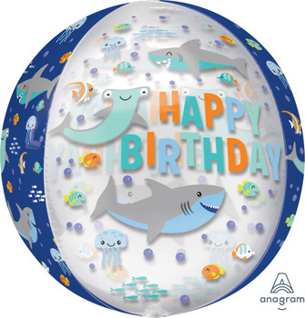 "16""A Orbz, Happy Birthday Clear Shark (5 count)"