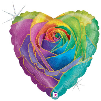 "18""B Heart Rose Rainbow Holographic (5 count)"