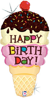 "33""B Happy Birthday Food,  Ice Cream Cone  Holographic (1 count)"