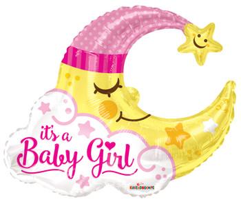 """36""""k Baby Girl Moon Shape (5 count)"""