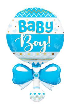"36""k Baby Boy Rattle Shape (5 count)"