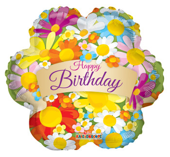 """4""""K Happy Birthday Flowers With Banner (10 count)"""