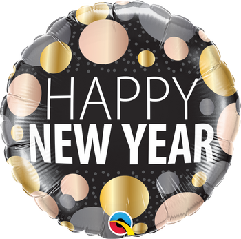 "18""Q Happy New Year, Metallic Dots (5 count)"