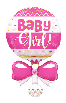 "36""k Baby Girl Rattle Shape (5 count)"