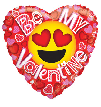 "18""k Be My Valentine Smile Face Heart Eyes (10 count)"