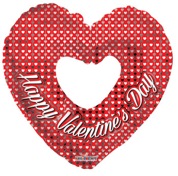 """9""""K Happy Valentine's Day Open Heart Silver (10 count)"""