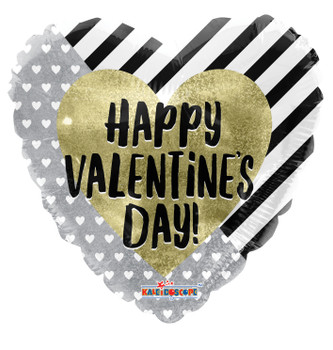 """9""""K Happy Valentine's Day Stripes Gold and Silver (10 count)"""