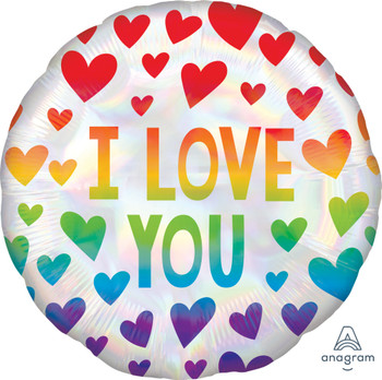 """18""""A Love You Rainbow Hearts (10 count)"""