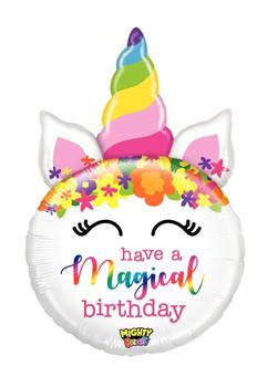 "33""B Happy Birthday Unicorn Head Mighty (5 count)"