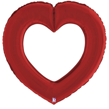 "41""B Linking Heart Red Satin (5 count)"
