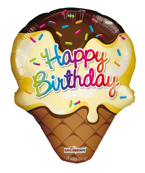 "14""K Happy Birthday Food  Ice Cream Cone (10 count)"