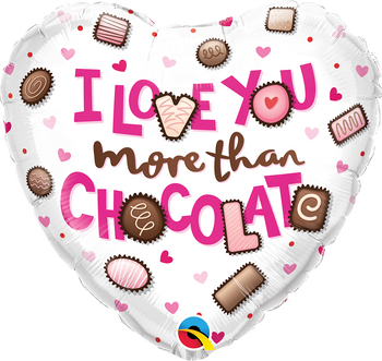 """18""""Q I Love You More Than Chocolate (10 count)"""