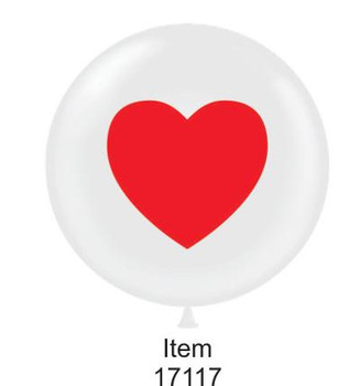 "17""T White with Red Heart (50 count)"