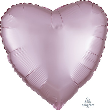 "18""A Heart Satin Luxe Pastel Pink (10 count)"