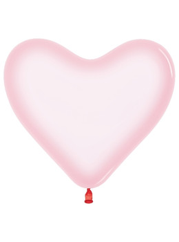 "11""B Heart Crystal Pastel Pink (50 count)"