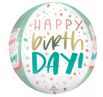 "16""A  Happy Birthday Cake Day Orbz Pkg (5 count)"