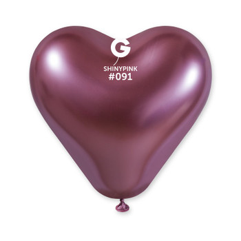 "12""G Shiny Heart Pink #091 (25 count)"