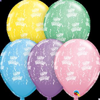 "11""Q Assorted Happy Birthday Pastel Print (50 count)"