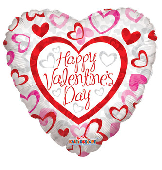 """9""""K Happy Valentine's Day Patterned Hearts (10 count)"""