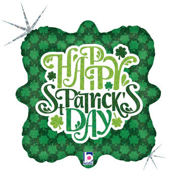 """18""""B Happy St. Patrick's Day Shimmering Shamrock Holographic (10 count)"""