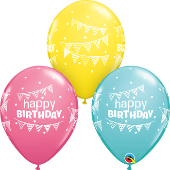 "11""Q Happy Birthday Pennants & Dots Assorted (50 count)"
