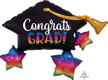 """34""""A Congrats Graduate Cap Irridecent  (5 count)"""