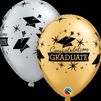 """11""""Q Congratulations Graduate Hats Silver/Gold (50 count)"""