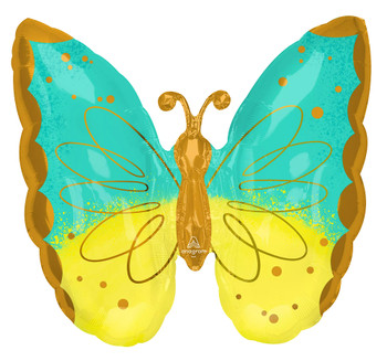 """25""""A Butterfly Teal & Yellow Pkg (5 count)"""