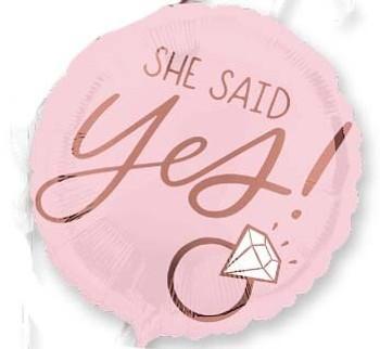 "18""A Blush Wedding She Said Yes  Pkg (5 count)"