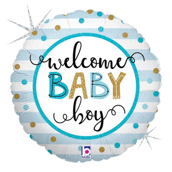 """18""""B Welcome Baby Boy Holographic Pkg (5 count)"""