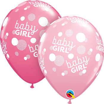 "11""Q Baby Girl Dots Pink and Rose Print (50 count)"