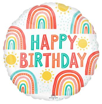 """18""""A Happy Birthday Retro Rainbow Pkg (5 count)"""