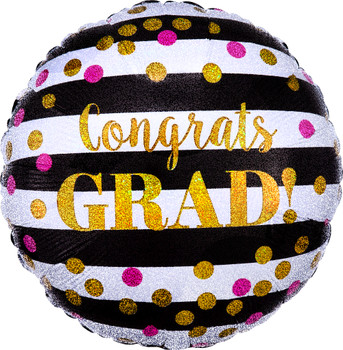 "18""A Congrats Grad Gold and Black Stripe (10 count)"