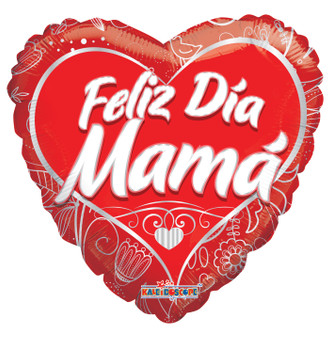 "18""K Feliz Dia Mama Red Heart(10 count)"