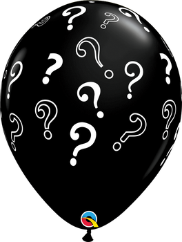 "16""Q Onyx Black w/ Question Marks Gender Reveal Print (50 count)"