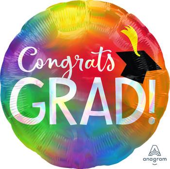 """18""""A Congrats Grad Rainbow Holographic (10 count)"""